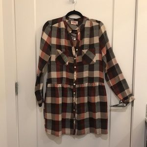 Everly Plaid Button Up Dress Size Medium